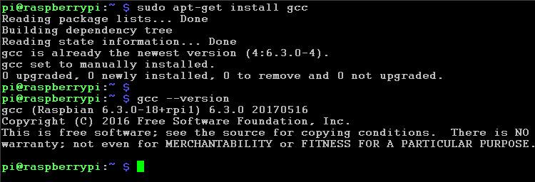 instalacja gcc Raspberry Pi