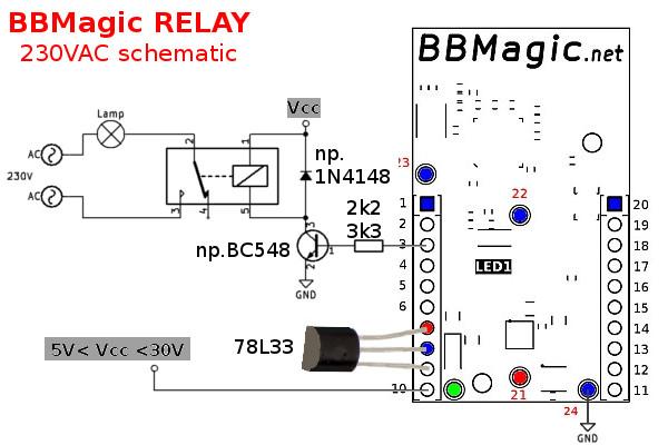 BBMagic RELAY 230VAC schemat