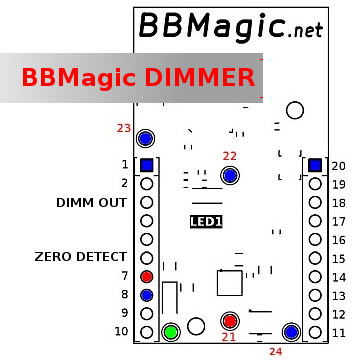 BBMagic DIMMER channels pins