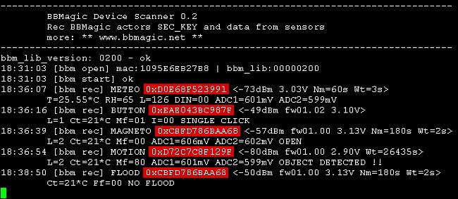 odczytywanie adresow sensorów BBMagic