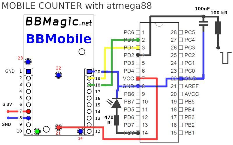 Mobile counter atmega88 schemat